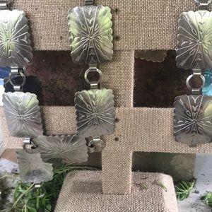 Vintage Native American Silver Stamped Concho Belt